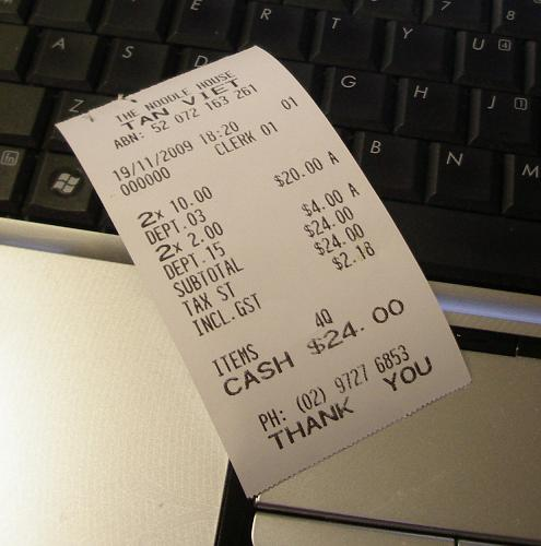 The receipt - so cheap!