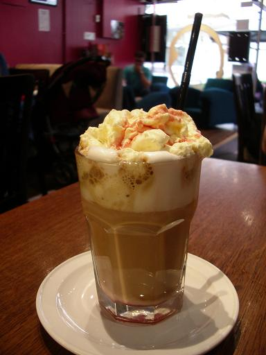Cloud 9 - White chocolate latte with raspberry and vanilla topped with whipped cream. This was an unusual blend of warm coffee and raspberry. It was an absolute treat!