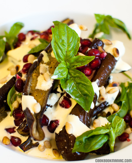 yotam pomegranate aril garlic yogurt salt greek aubergine pine nuts lemon juice