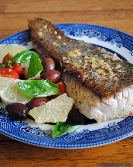 FISH FRY LEMON BUTTER GARLIC OLIVE TOMATO LEMON CELEBRITY CHEF WHOLESOME