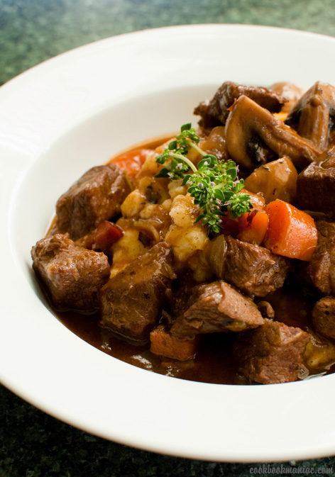 beef blade stew wine red stock carrot onion shallot mash potato button mushrooms butter