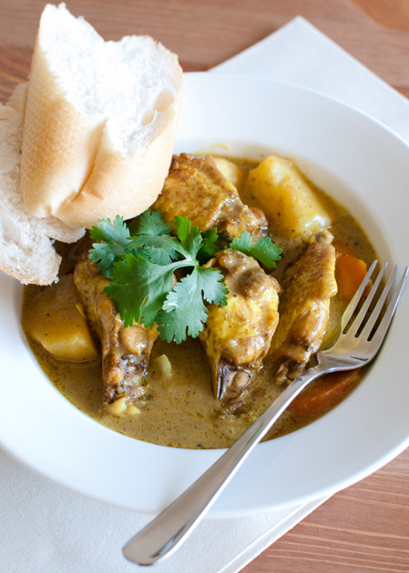 chicken wing potato madras curry carrot lemongrass ginger indian french baguette bread shallot onion garlic